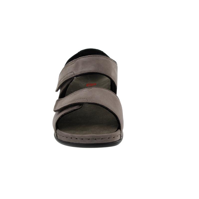 Berkemann Elisha, stone (grau) Nubuk, Sandale, Weite E-H, Wechselfußbett 1045-967