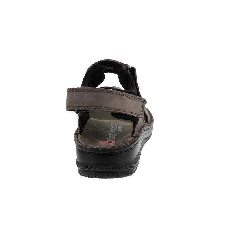 Berkemann Neele, mausgrau Nubuk / schwarz Textil, Sandale, Weite F-J, Wechselfußbett 3116-499