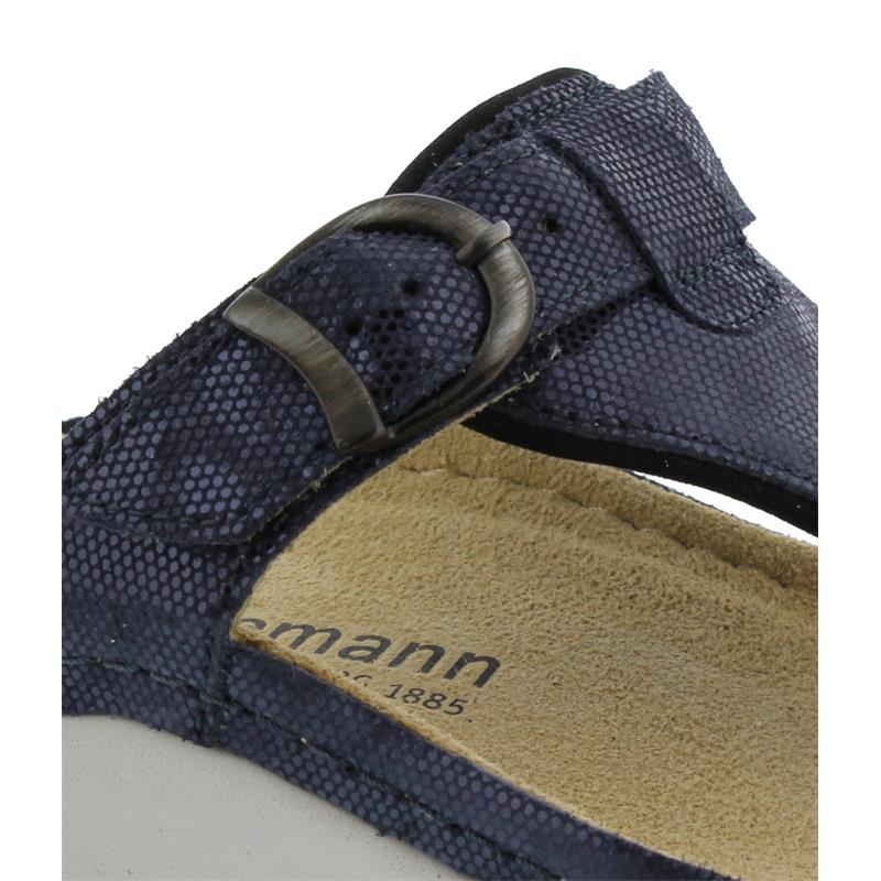 Berkemann Mila, blau Waben shiny / Leder, Zehenstegpantolette, Weite G 1351-303