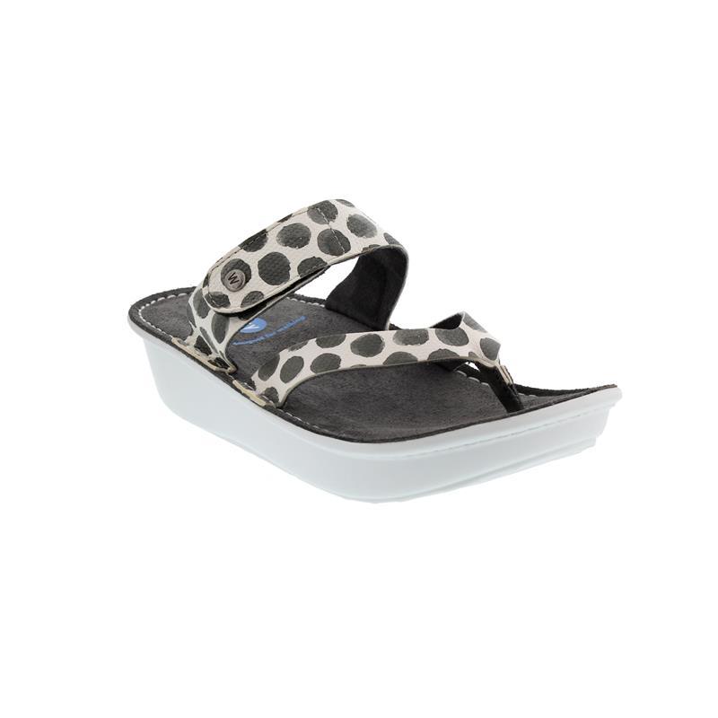Wolky Martinique, Zehensteg-Pantolette, Spots leather, Anthracite 0087795-210