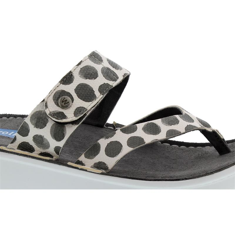 Wolky Martinique, Zehensteg-Pantolette, Spots leather, Anthracite 0087795-210