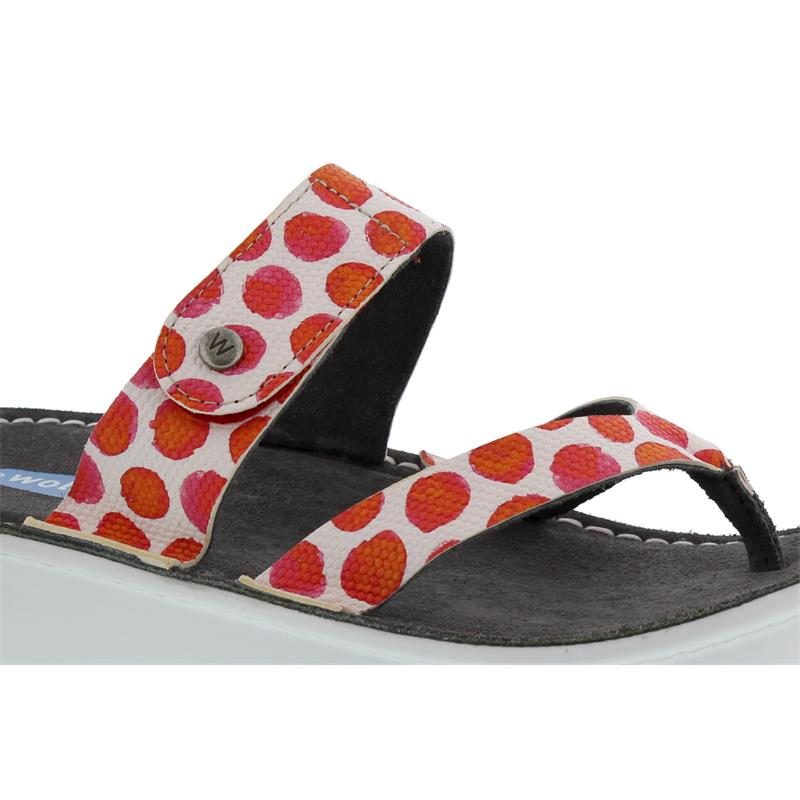 Wolky Martinique, Zehensteg-Pantolette, Spots leather, Red 0087795-500