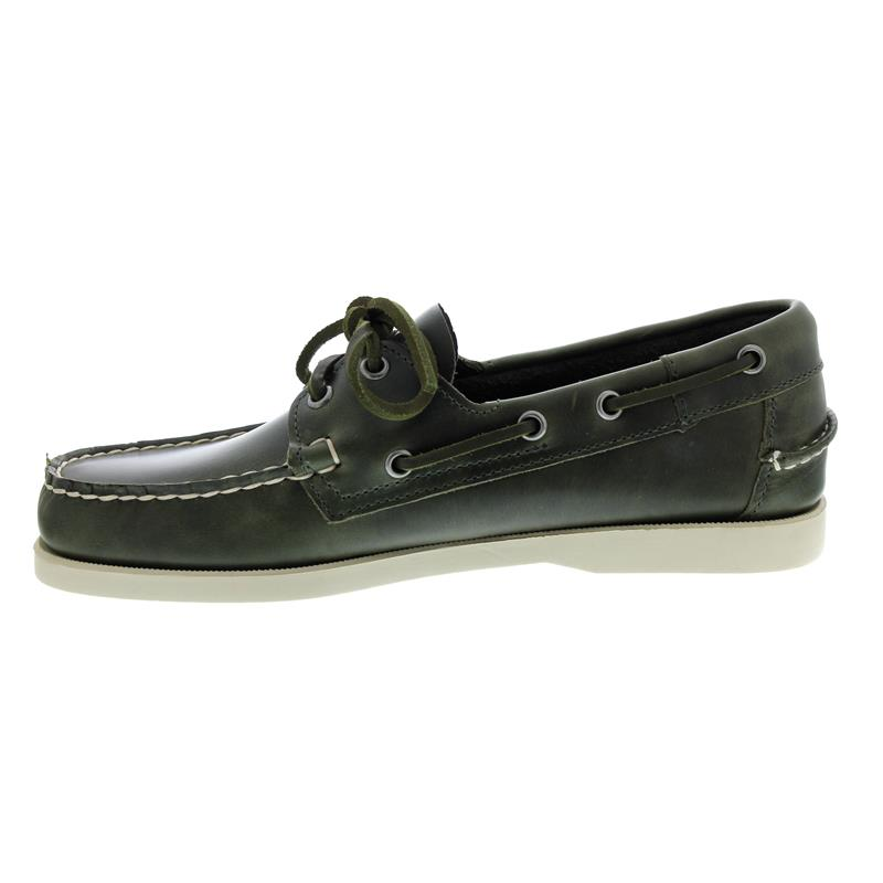 Sebago Docksides, Full-Grain Leather, Waxed, Green Military Men 70000G0-909