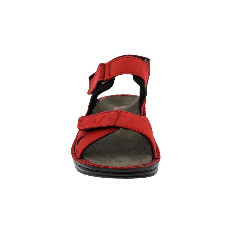 Berkemann Neele, rubin Nubuk / schwarz Textil, Sandale, Weite F-J, Wechselfußbett 3116-267