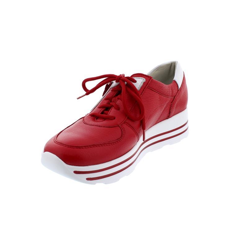 Waldläufer H Lana, Sneaker, Hirschleder (Glattleder), rot weiss, Weite H 758001 299 939