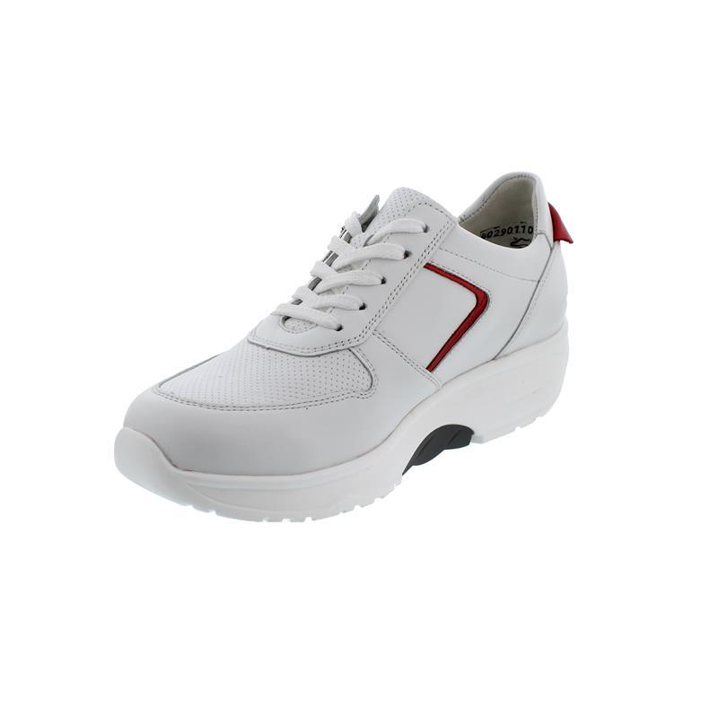 Waldläufer H-Sonja, Dynamic-Sohle, Sneaker, Glattleder, weiss / rot, Weite H 999004-300-762