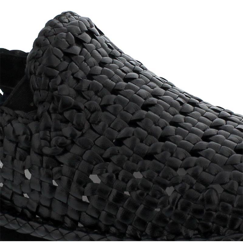 Galizio Torresi leichter Slipper aus Flechtleder, schwarz, 442508