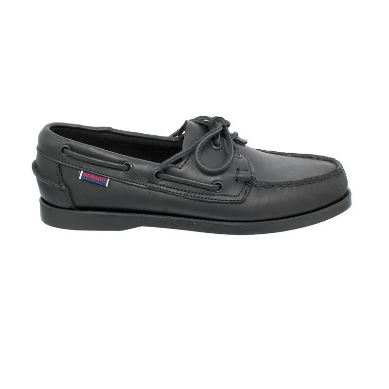 Sebago Docksides, Full-Grain Leather (Glattleder), total black, Men 7000H00-924