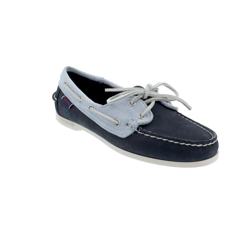 Sebago Docksides, Nubuck Panama W, navy-light blue-white, Women 711142W-974