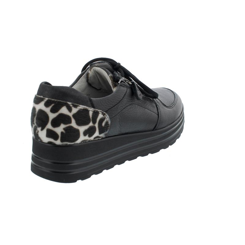 Waldläufer H-Lana, Sneaker, Hirschleder Muuh Br (Glattleder), schwarz/weiß, Weite H 758001-500-892