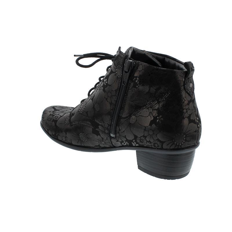 Waldläufer Haifi, Bloom (bedr. Nubuck), schwarz, Schnürung u. Reißverschluss, Weite H 967809-141-001