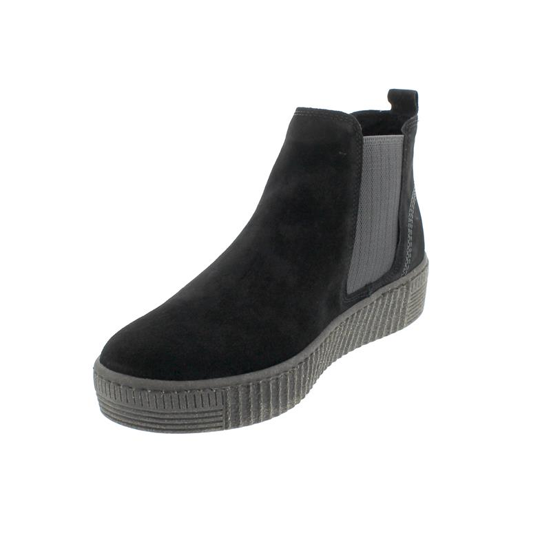 Gabor Chelsea Boot, Dreamvelour (Micro), schw./grey (anthr.),Wechselfußbett, Best-Fitting 53.731.17