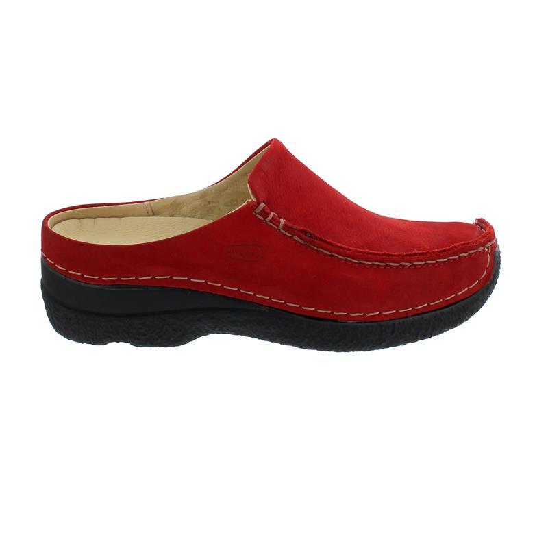 Wolky Seamy-Slide Clog, Oiled nubuck, dark-red, 0625016-505