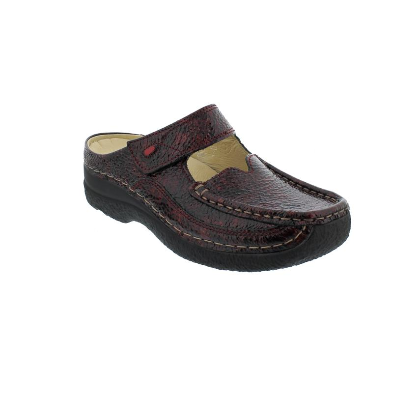 Wolky Roll Slipper Clog, Vernice Mix Leather, bordo, 0622765-510