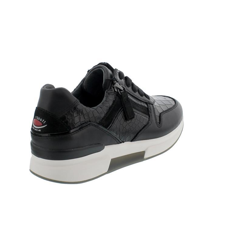 Rollingsoft Sneaker, Kroko / Foulard / Samt, schwarz Schnürung / Reißv., Wechself. 56.929.97