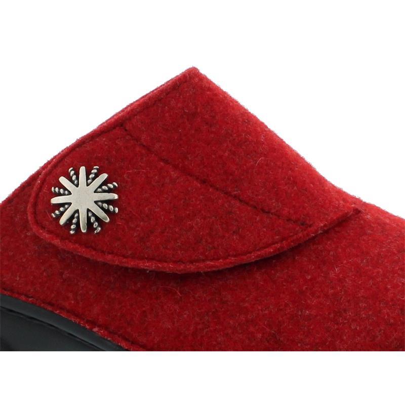 Berkemann Donella Hausschuh, rot, Filz, Weite G, Wechselfußbett 03526-235