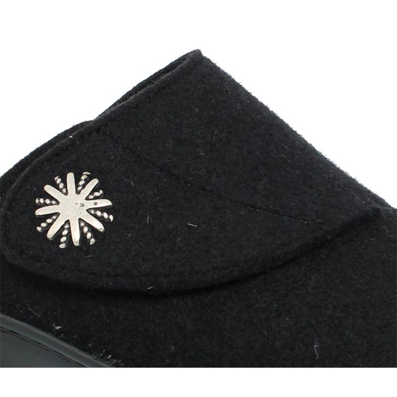 Berkemann Donella Hausschuh, schwarz, Filz, Weite G, Wechselfußbett 03526-958