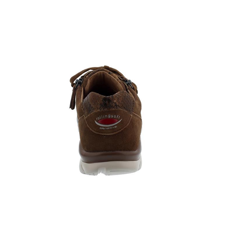 Rollingsoft Sneaker, Samtchevreau/Snake, new whisky,  Schnürung und Reißv., Wechselfußbett 56.968.35