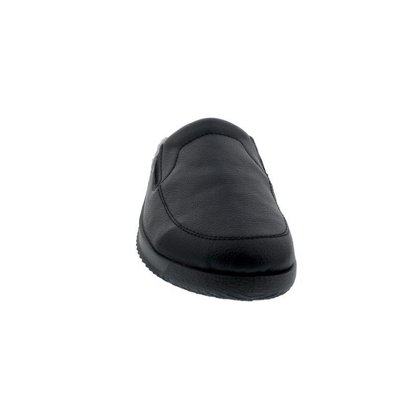 Rohde Herren Pantolette mit Warmfutter, Nappalino geprägt, schwarz, Weite G 1/2 2777-90
