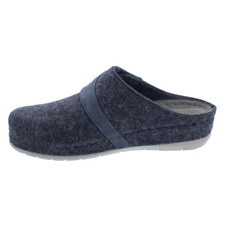 Rohde Damen Pantolette, Softfilz / Velourleder, Lederfußbett, ocean, Weite G 6038-56