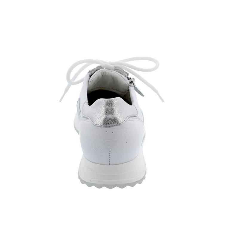 Waldläufer -MYDEER, H-Vicky Sneaker, Hirsch-Leder, weiss silber, Weite H 752002-201-663