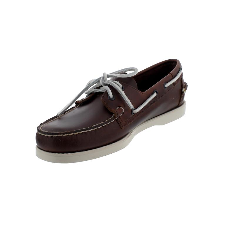 Sebago Docksides, Waxed Leather, Brown - White, Men 70000G0-A02