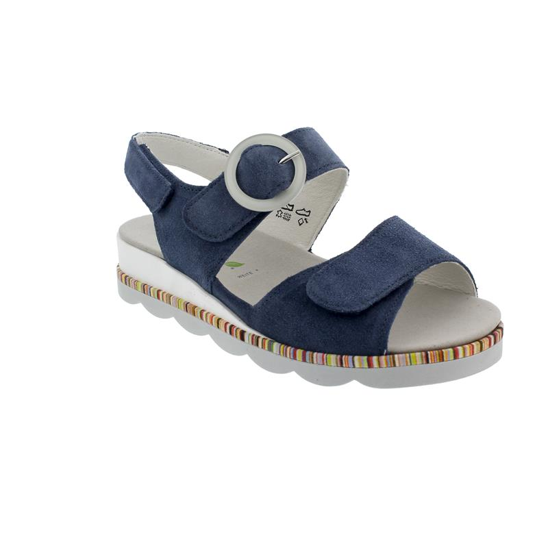 Waldläufer K-Nelly Sandale, Velour (Order), Jeans, Weite K, Klettverschluss 650002-195-206