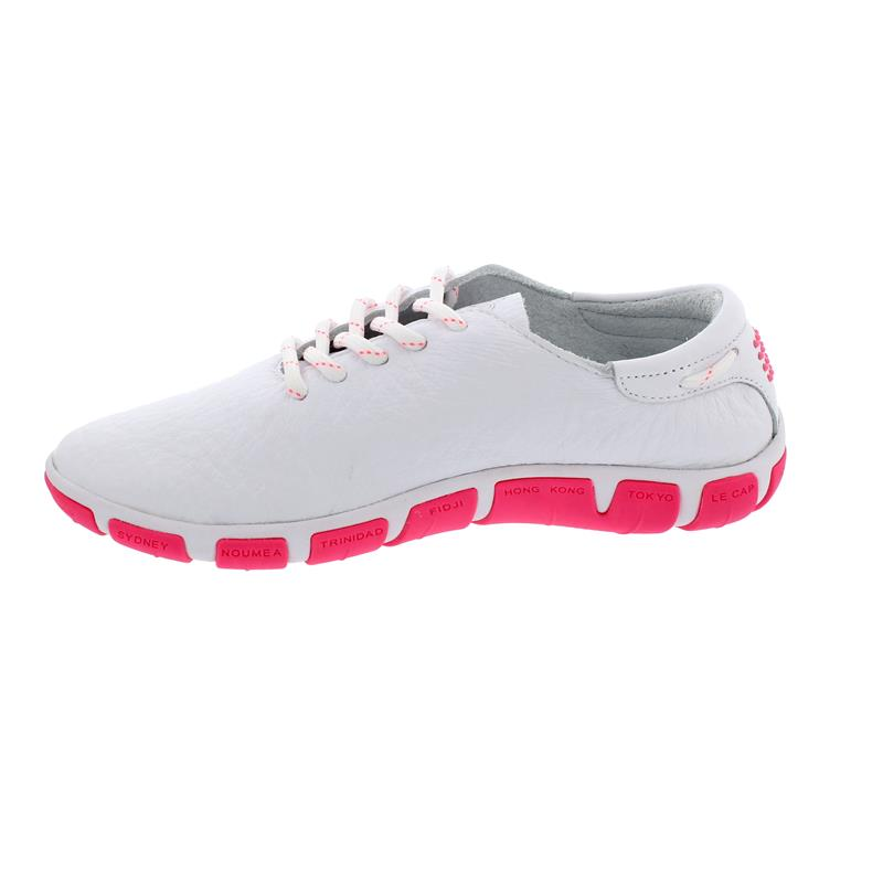 TBS Jazaru Segelschuh, Full Grain Leather, Extra Blanc /Rose Fluo, F7G17