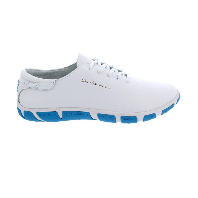 TBS Jazaru Segelschuh, Full Grain Leather, Extra Blanc /Bleu Fluo, F7Q42