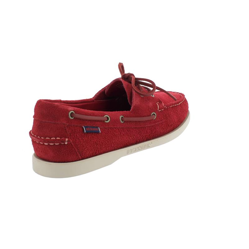 Sebago Docksides, Velour Leather, Red-Red Chily Pepper, Men 7111PTW-913