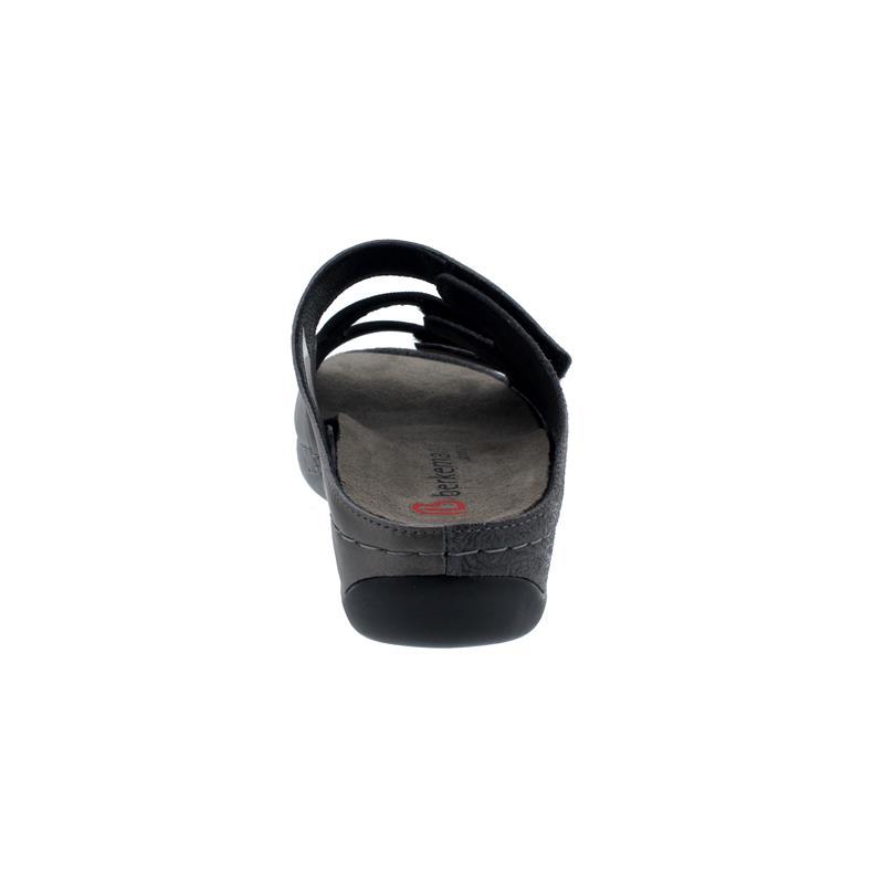 Berkemann Andrea Pantolette, asilber/altb/schwarz, Leder/ Stretch, Wechselfußbett, Weite E-H 1013-595